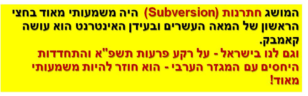 """המושגחתרנות (Subversion) היה משמעותי מאוד בחצי הראשון של המאה העשרים ובעידן האינטרנט הוא עושה קאמבק.  וגם לנו בישראל - על רקע פרעות תשפ""""א והתחדדות היחסים עם המגזר הערבי - הוא חוזר להיות משמעותי מאוד!"""