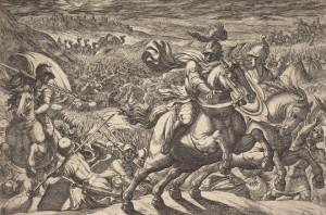 [בתמונה: איור של Tempesta Abraham, המתאר את מלחמת ארבעת המלכים את החמישה, משנת 1613; האיור הוא נחלת הכלל]