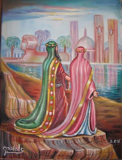 """[בתמונה:ציורי תנ""""ך/ אברהם ושרהבמצרים/ ציירה: אהובה קליין (c) שמן על בד]"""
