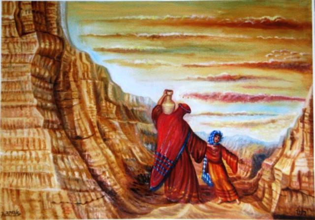 """[ציורי תנ""""ך; הנושא: הגר וישמעאל במדבר; ציירה: אהובה קליין. מוצג באישור היוצרת]"""