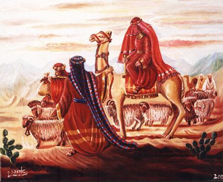 """[בתמונה:ציורי תנ""""ך/אברהם ופמלייתו שבים ממצרים לארץ/ ציירה: אהובה קליין (c) שמן על בד]"""