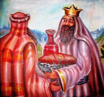 """[ציורי תנ""""ך; הנושא: ציורי תנ""""ך/ מלכי-צדק מקבל פני אברהם; ציירה: אהובה קליין. מוצג באישור היוצרת]"""