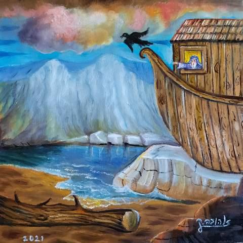 """[בתמונה: ציורי תנ""""ך / נח משלח את העורב / ציירה: אהובה קליין (c)]"""