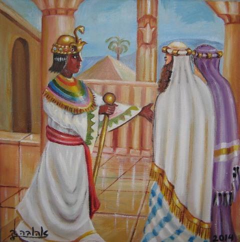 """[בתמונה:ציורי תנ""""ך/ פרעה משיב את שרה לאברהם במצרים/ ציירה: אהובה קליין (c) שמן על בד]"""