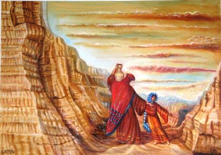 """[ציורי תנ""""ך / הגר וישמעאל במדבר / ציירה: אהובה קליין (c) [שמן על בד]"""