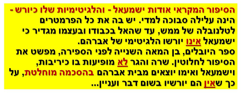 הסיפור המקראי אודות ישמעאל - והלגיטימיות שלו כיורש - הינה עלילה סבוכה למדי. יש בה את כל הפרמטרים לטלנובלה של ממש, עד שהאל בכבודו ובעצמו מגדיר כי ישמעאל אינו יורשו הלגיטימי של אברהם. ספר היובלים, בן המאה השנייה לפני הספירה, מפשט את הסיפור לחלוטין. שרה והגר לא מופיעות בו כיריבות, וישמעאל ואימו יוצאים מבית אברהם בהסכמה מוחלטת, על כך שאין הם יורשיו בשום דבר ועניין...