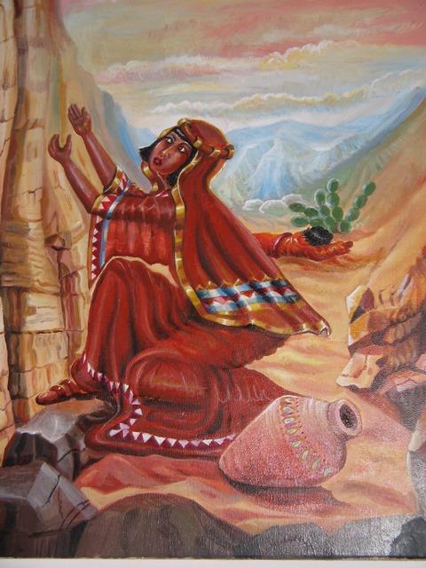 """[ציורי תנ""""ך / הגר מתפללת במדבר / ציירה: אהובה קליין (c) [שמן על בד]"""