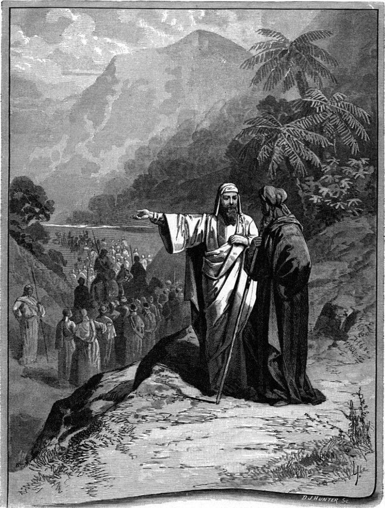 """[אברהם ולוט מחלקים את הארץ. איור מתמונות התנ""""ך משנת 1897 מאת צ'רלס פוסטר. התמונה היא נחלת הכלל]"""