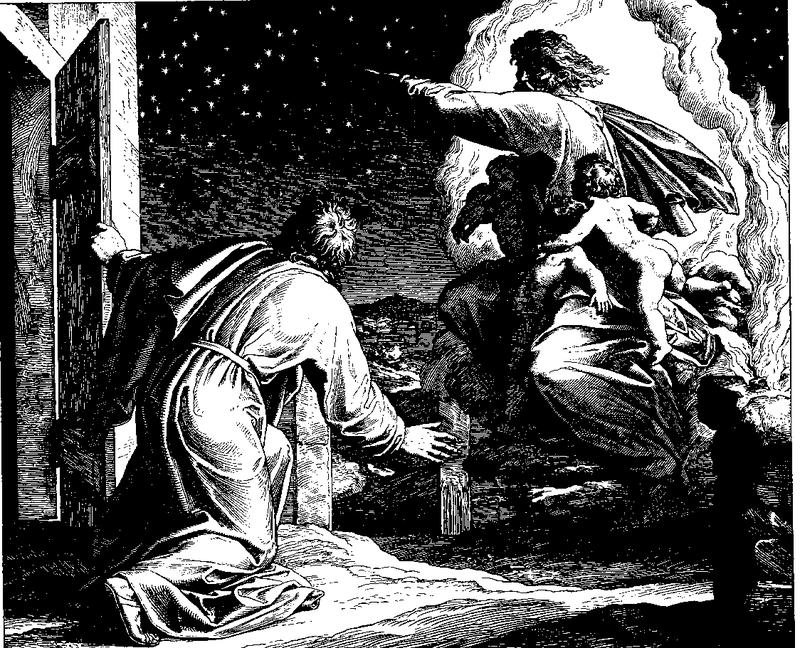"""[אברם סופר את הכוכבים. חיתוך עץ מאת יוליוס שנור פון קרולספלד מהתנ""""ך בתמונות 1860. התמונה היא נחלת הכלל]"""