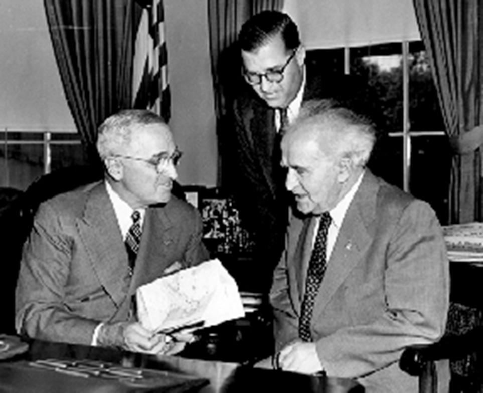 [בתמונה: נשיא ארצות הבריתהארי טרומן, בפגישה עםראש ממשלת ישראלהראשוןדוד בן-גוריוןושגריר ישראל הראשון בוושינגטון,אבא אבן, 8 במאי1951. התמונה היא נחלת הכלל]