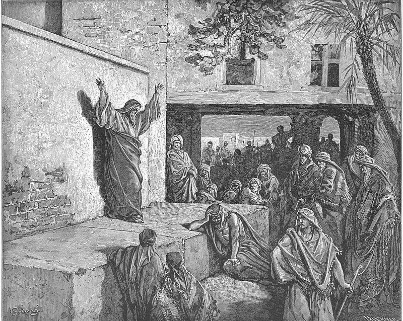 [בתמונה: ה' מתקשר את מלכותו ומשפטיו באמצעות נביאים וכהנים... מיכה הנביא נושא נבואה בפני קהל. יצירתו של גוסטב דורה.. התמונה היא נחלת הכלל]