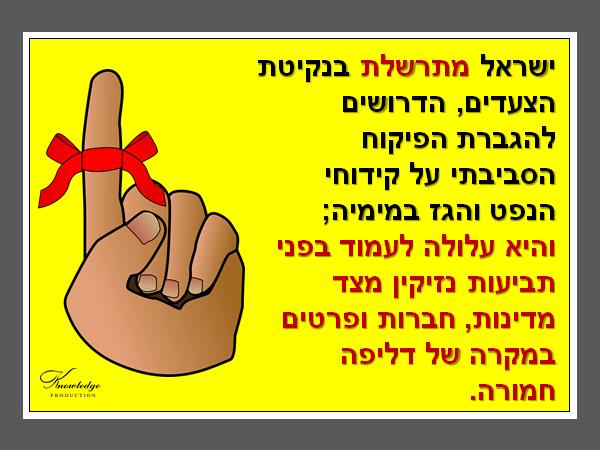ישראל מתרשלת בנקיטת הצעדים, הדרושים להגברת הפיקוח הסביבתי על קידוחי הנפט והגז במימיה; והיא עלולה לעמוד בפני תביעות נזיקין מצד מדינות, חברות ופרטים במקרה של דליפה חמורה. הכרזה: ייצור ידע