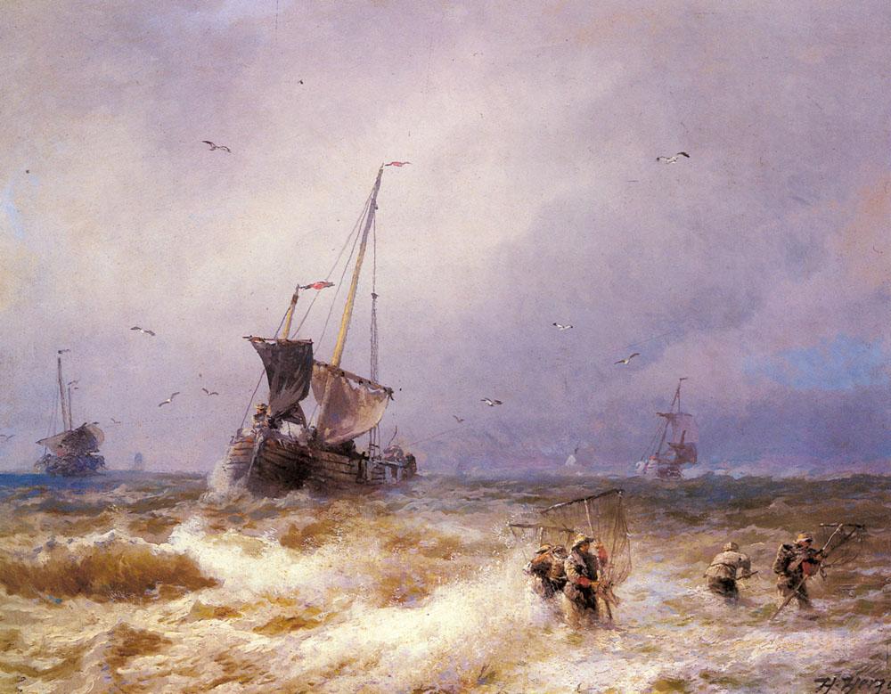 [בתמונה: סצנת דיג. ציור מאת הרמן אוטומר הרצוג. התמונה היא נחלת הכלל]
